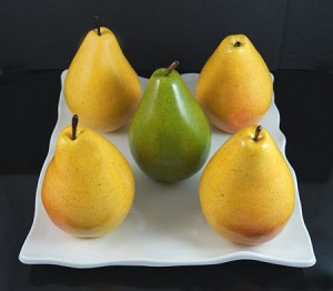Fake Food Jumbo Pears On Decorative Melamine Tray