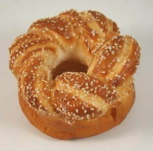 Fake Food Bread Round Sesame Twist