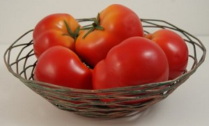 Fake Food Tomatoes In Decorative Wire Bowl
