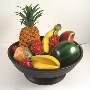 Fake Food Tropical Fruit Assortment on Primitive Footed Bowl