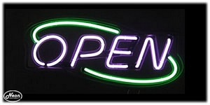 Open Deco Purple & Green Neon Open Sign