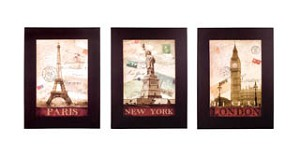 Large Romantic Travels Canvas Set of 3