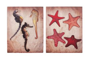 Starfish and Seahorse Canvas Set of 2