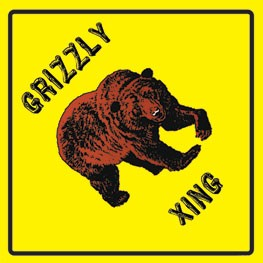Grizzly Bear Crossing Street Metal Sign