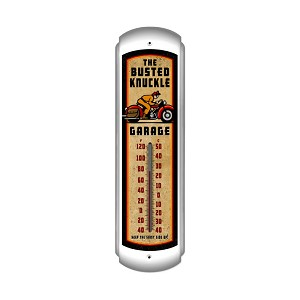 Retro Rider Vintage Metal Sign Vertical Thermometer