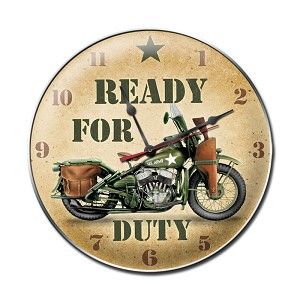 Ready for Duty Vintage Metal Sign Clock