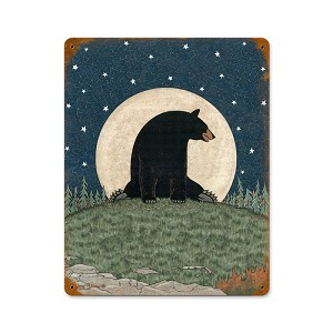 Bear Moon Vintage Metal Sign