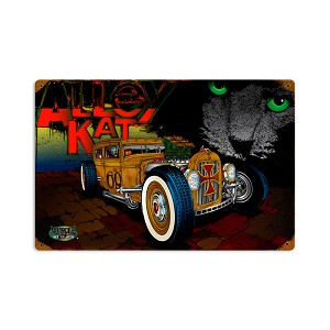 Rat Rod Alley Cat Vintage Metal Sign