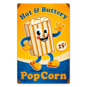Popcorn Man Vintage Metal Sign