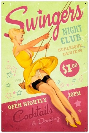 Swingers Club Metal Sign