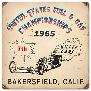 Bakersfield Killer Cars Vintage Metal Sign