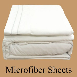 White Microfiber Sheets, Full Size,  Deep Pocket