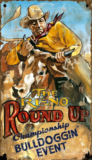 The Reno Round Up Rodeo Antiqued Wood Sign