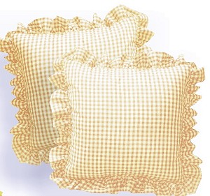 Golden Tan Gingham Ruffled or Corded Throw Pillows Stuffed Set of 2