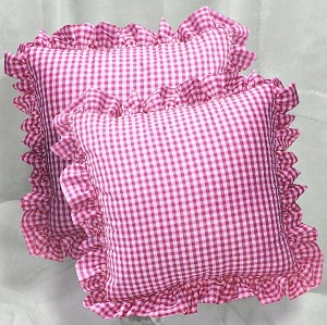 Hot Pink Gingham Ruffled or Corded Throw Pillows Stuffed Set of 2