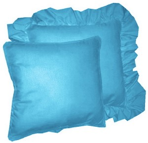 Turquoise Solid Colored Ruffled or Corded Pillows Set of 2