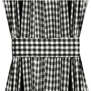 Black Gingham Check French Door Curtains