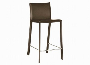 Brown Leather Counter Stool