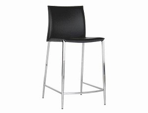Jenson Black Leather Counter Height Stool