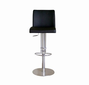 Marcus Black Leather Bar Stool