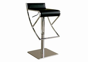 Adjustable Black Leather Bar stool