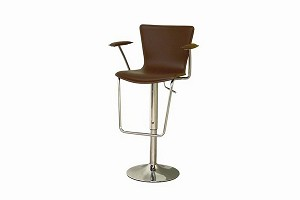 Brown Bonded Leather Adjustable Bar Stool