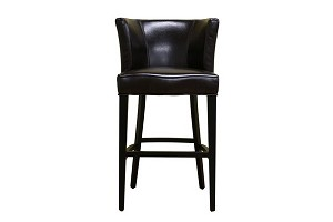 CLETO Dark Brown Leather Barstool