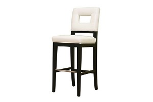 Faustino White Leather Barstool