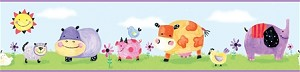 Polka Dot Piggy and Friends Peel and Stick Border
