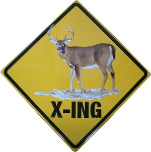 White-tailed Deer X-ing Embossed Tin Sign