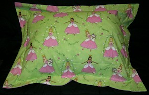 Girls Princess Bedding Full Size Pillow Sham with Flange