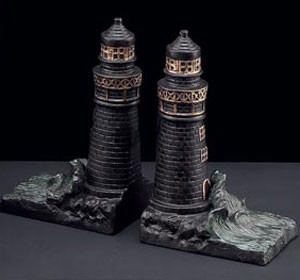 Bronzed Brass Light House Bookends