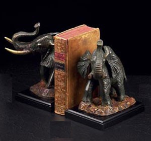 Bronzed Brass Elephant Bookends