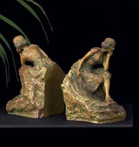 Brass Lady Bookends
