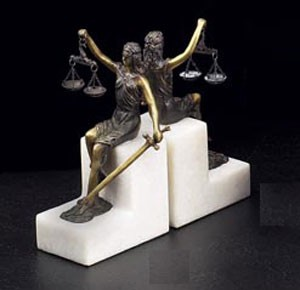 Bronzed Lady Justice Bookends