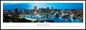 Baltimore, Maryland Framed Skyline Picture