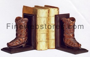 Rustic Leather/Bronze Cowboy Boot Bookends