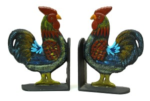 Cast Iron Hand Painted Rooster Bookends Set