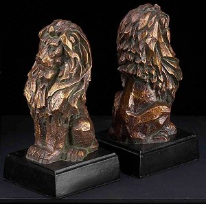 Bronze Sitting Lions Bookends