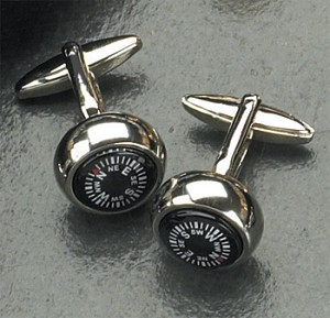 Rodium Plated Cufflinks with Compass T.P.
