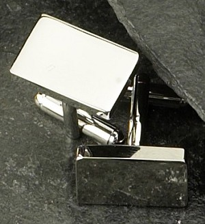 Rodium Plated Cufflinks with Rectangle Shape T.P.