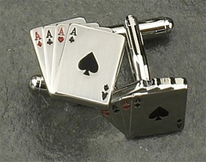 Rodium Plated Cufflinks with Four Aces T.P.