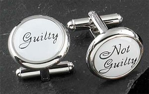 Rodium Plated Cufflinks with Guilty or Not Guilty Pattern T.P.