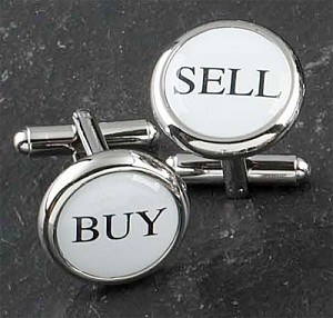 Rodium Plated Cufflinks with Buy and Sell Pattern T.P.