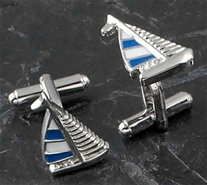 Rodium Plated Cufflinks with Blue and White Sail Boat Pattern T.P.