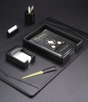 6 Piece Genuine Black Leather Desk Set T.P.