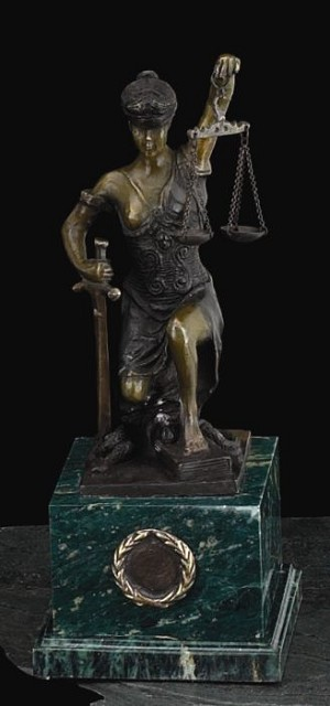 Kneeling Lady Justice Bronze Sculpture on Green Marble Base T.P.