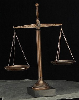 16 Inch Scales of Justice Sculpture on Marble Base T.P.
