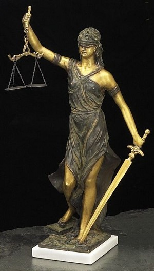Lady Justice Bronze Sculpture on White Marble Base T.P.