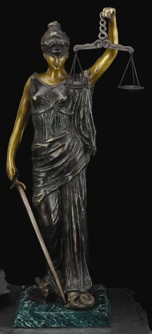 Lady Justice Bronze Sculpture on Green Marble Base T.P.
